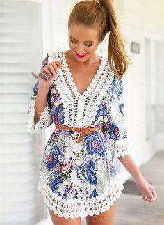 Dresses - $56.33 - Polyester Floral 3/4 Sleeves Mini Vintage Dresses (1955105516)
