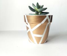 White and Gold Terra Cotta Pot  Hand by GoodGollyMisterShop