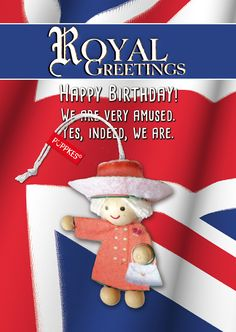 #queen #royal #greetings #HerzlichenGlückwunsch #Geburtstag #Humor #Püppkes #Glücksbringer #Sprüche #Postkarte #Deko #Holzköpfe #Püppchen #Geschenk #Mitbringsel