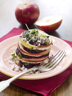 Crisp Apple and Fresh Beet stacked with crumbled feta cheese.
