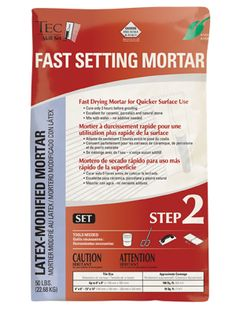 Tile mortar for installing floor tile, tile backsplash and more. $11.96 Available at Lowes. Most tile DIY projects are completed in less than 24 hrs with this product.