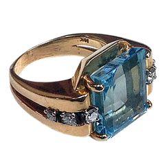 Aquamarine and Diamond Ring
