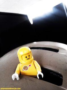 LEGO astronaut in bicycle helmet
