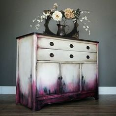*SOLD* I'm really liking these shades of deep berry pink lately if you can't tell! This time I paired it with a dirty white, dark stained top and bronze on the pulls. This smaller buffet measures Funky Furniture, Refurbished Furniture, Paint Furniture, Repurposed Furniture, Furniture Projects, Furniture Makeover, Furniture Websites, Furniture Refinishing, Diy Purple Furniture