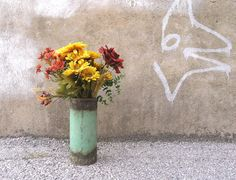 Large Vase Table Centerpiece Industrial Decor by PaulaArt on Etsy, $45.00