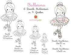 Stickmuster - 6 Stickdateien DOODLE Ballerina *4 Größen* - ein Designerstück von Schnookywoo bei DaWanda