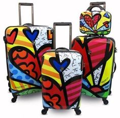Romero Britto Brito Heys 4 Piece Luggage Set (A New Day):Amazon:Clothing