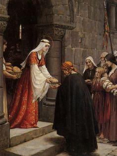 THE CHARITY OF SAINT ELIZABETH OF HUNGARY, (OSF Franciscan Saint) by Edmund Blair Leighton -