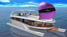 Schwebe-Yacht Spiral Segel