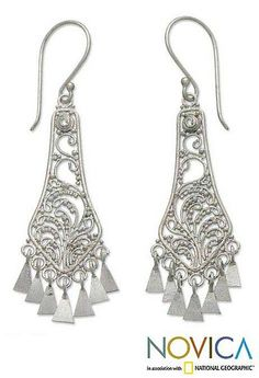 Sterling Silver Chandelier Earrings - Bell Garden | NOVICA