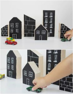 Easy Wooden Chalkboard City Blocks diy toys 30 DIY Rustic Wooden Toys Kids Will Love Scrap Wood Crafts, Diy Wood Projects, Cork Crafts, Rustic Toys, Diy For Kids, Crafts For Kids, Making Wooden Toys, Wooden Toys For Kids, Diy Bebe