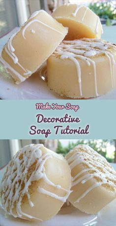"I have a very special melt and pour soap recipe and tutorial from a guest named Sharon, owner of Oasis Bath Body. Aren't these decorative ""crème brûlée"" soaps just beautiful!? We're sharing just how to make soaps like this including the ""icing"" top decoration, read on for the ingredients and instructions. What You Will Need: …"