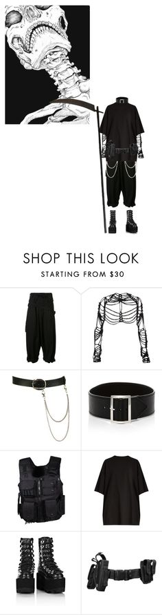 """""""Don't fear the Death"""" by bubblegumbae ❤ liked on Polyvore featuring Yohji Yamamoto, Maison Margiela, Wet Seal, Sophie Buhai, Swat, Vetements, Alexander Wang, Halloween, grunge and horror"""