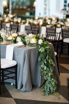 Best Ideas For Diy Wedding Table Floral Garland Grey Wedding Theme, Floral Wedding, Wedding Colors, Wedding Reception, Wedding Flowers, Dream Wedding, Trendy Wedding, Reception Ideas, Long Wedding Tables