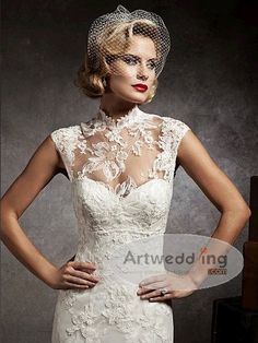 Illusion High Neck Lace Mermaid Bridal Gown