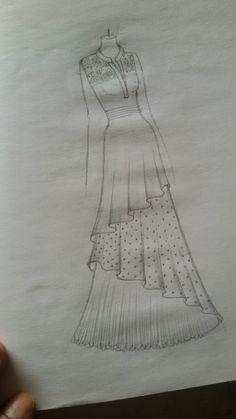 Dress Design Drawing, Dress Design Sketches, Fashion Design Sketchbook, Fashion Design Drawings, Drawing Drawing, Dress Drawing, Drawing Clothes, Dress Designs, Fashion Drawing Tutorial