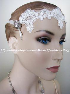 Back in stock: Charleston Art Deco Lace & Satin Faux Pearl Diamanté Wedding Headband Tiara by Missie77art Jewellery on ebay