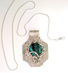 Dichroic Glass and Precious Metal Clay Pendant by jwakeman on Etsy, $85.00