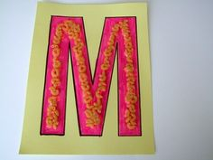 Letter-M-Is-For-Macaroni-Alphabet-Crafts-For-Kids. Letter M Crafts, Abc Crafts, Alphabet Crafts, Alphabet For Kids, Alphabet Art, Toddler Crafts, Crafts For Kids, Letter Art, Animal Alphabet