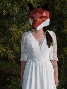 Fun pre-wedding session with DIY fox mask // Quirky Engagement Shoot With Geometric Animal Masks: Max and Aster