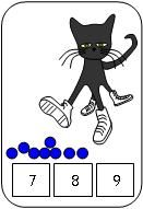 Printable Pete the Cat count and clip clothespin  activity available at www.makinglearningfun.com.