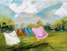 Summery GardenAn ... Clothes Line, Washing Clothes, Irish Weather, Ireland Holiday, Irish Art, Connemara, Happy Paintings, Contemporary Paintings, Watercolor Art