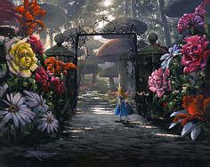 Lately I have become obsessed with Alice in Wonderland and it's origins. I have heard long ago that Alice in Wonderland was written for . Alice In Wonderland Garden, Disney Fine Art, Alice Madness, Thomas Kinkade, Through The Looking Glass, Art Plastique, Disney Love, Walt Disney, Disney Inspired