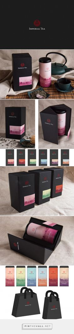 Graphic design, branding and packaging for Imperial Tea on Behance by Lorenzo De Bon Vettorel Pedavena, Italy curated by Packaging Diva PD. Look at those shopping bags. Too bad it's just a concept. Tea Packaging, Luxury Packaging, Beverage Packaging, Brand Packaging, Bottle Packaging, Packaging Ideas, Tea Design, Label Design, Graphic Design