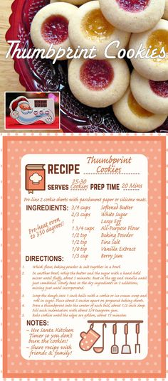 Santa Kitchen Timer Recipe Collection | Thumbprint Cookies