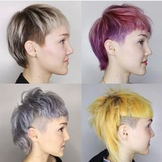 v olution of a mullet on 🖤 Mullet Haircut, Mullet Hairstyle, Punk Pixie Haircut, Mohawk Mullet, Yellow Hair, Pink Hair, White Hair, Pixie Hairstyles, Pretty Hairstyles