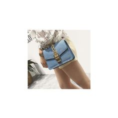 Chain Strap Denim Crossbody Bag ($24) ❤ liked on Polyvore featuring bags, handbags, shoulder bags, accessories, chain strap crossbody purse, crossbody purses, denim shoulder bag, chain shoulder bag and chain strap purse