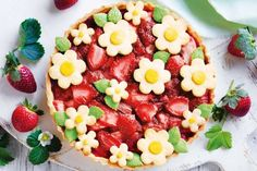 Strawberry, Rhubarb and Apple Tart. Bring a burst of blooms into your spring baking with this spectacular open fruit tart. Serve warm out of the oven with a scoop of vanilla ice-cream. Rhubarb And Apple Crumble, Strawberry Rhubarb Pie, Apple Pie, Tea Recipes, Apple Recipes, Cooking Recipes, Yummy Healthy Snacks, Healthy Treats