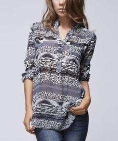 Look what I found on #zulily! Gray & White Stripe Button-Front Tunic by Ruby Rose #zulilyfinds
