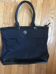 da5446be594b2b Authentic Tory Burch Tote Bag large Size all Black Gold Accents  black   gold