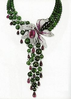 Cartier Emerald, Ruby, Platinum and Diamond Orchid Necklace Cartier Necklace, Cartier Jewelry, Antique Jewelry, Jewelery, Vintage Jewelry, Gold Jewellery, Silver Jewelry, Ruby Necklace, Emerald Jewelry