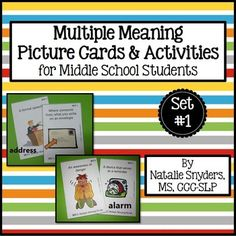 Great multiple meaning word activities for upper elem/middle school students in speech-language tx.  Sets 1-4 available separately or in a $ saving bundle!