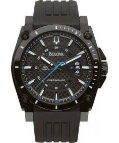 BULOVA Precisionist Champlain Black Rubber Strap Bulova Watches, Black Rubber