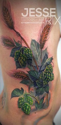 If you are a beer enthusiast, check this post on fun & Refreshing Beer Tattoos. Vine Tattoos, Sleeve Tattoos, Cool Tattoos, Hop Tattoo, Culinary Tattoos, Beer Art, Tattoo Illustration, Popular Tattoos, Tattoos With Meaning
