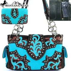 TURQUOISE STITCHED RHINESTONE CROSS LOOK FLAT THICK WALLET MONTANA WEST BLING