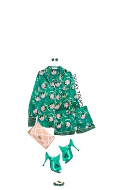 """""""Daytime Pyjamas: St. Paddy's Day Green"""" by hollowpoint-smile ❤ liked on Polyvore featuring Olivia von Halle, N°21, Roger Vivier and Gucci"""