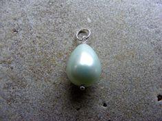 Pearl charm, pearl silver charm, mint green charm, interchangeable charm, removable charm, pearl silver pendant, mint silver charm