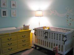 yellow, grey and light blue chevron nursery
