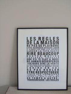 Affiche Les Règles de la Maison.Ecriture Noire sur Fond Blanc.Un texte plein de charme et d'humour à afficher dans la maison, des règles essentielles, pleines d'optimisme...30cm/40cm.