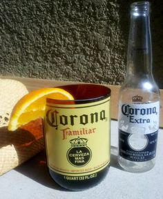Mmmmm!  Now THAT'S a real glass!  XL Tumblers made from Upcycled Corona bottle by ConversationGlass on Etsy, $28.00