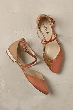 Elsa Cross Strap Flats. Sophistication without the dreaded high heel? These peach flats are bound to look elegant against any outfit combination.