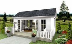 adorable farmhouse cottage design ideas and decor 17 Backyard Office, Backyard Studio, Backyard Sheds, Shed Design, Small House Design, Cottage Design, Casa Loft, Home And Garden Store, Small Cottages