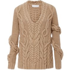 Nellie Partow Bay Wrap Cableknit Sweater (£1,305) ❤ liked on Polyvore featuring tops, sweaters, tan, chunky cable sweater, cable sweater, cable knit pullover sweater, beige pullover sweater and tan sweater