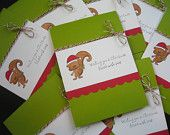 Squirrel Christmas Cards Set of 8 Handstamped Green