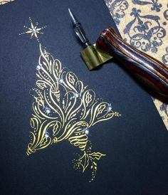 Takeaway: Designs can be done with copperplate that are really beautiful and intricate. I also love the gold ink! Flourish Calligraphy, Copperplate Calligraphy, Calligraphy Drawing, Calligraphy Letters, Penmanship, Calligraphy Christmas, Modern Calligraphy, Caligraphy, Calligraphy Qoutes