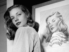 Lauren Bacall at Gotham Hotel, New York, 1945.